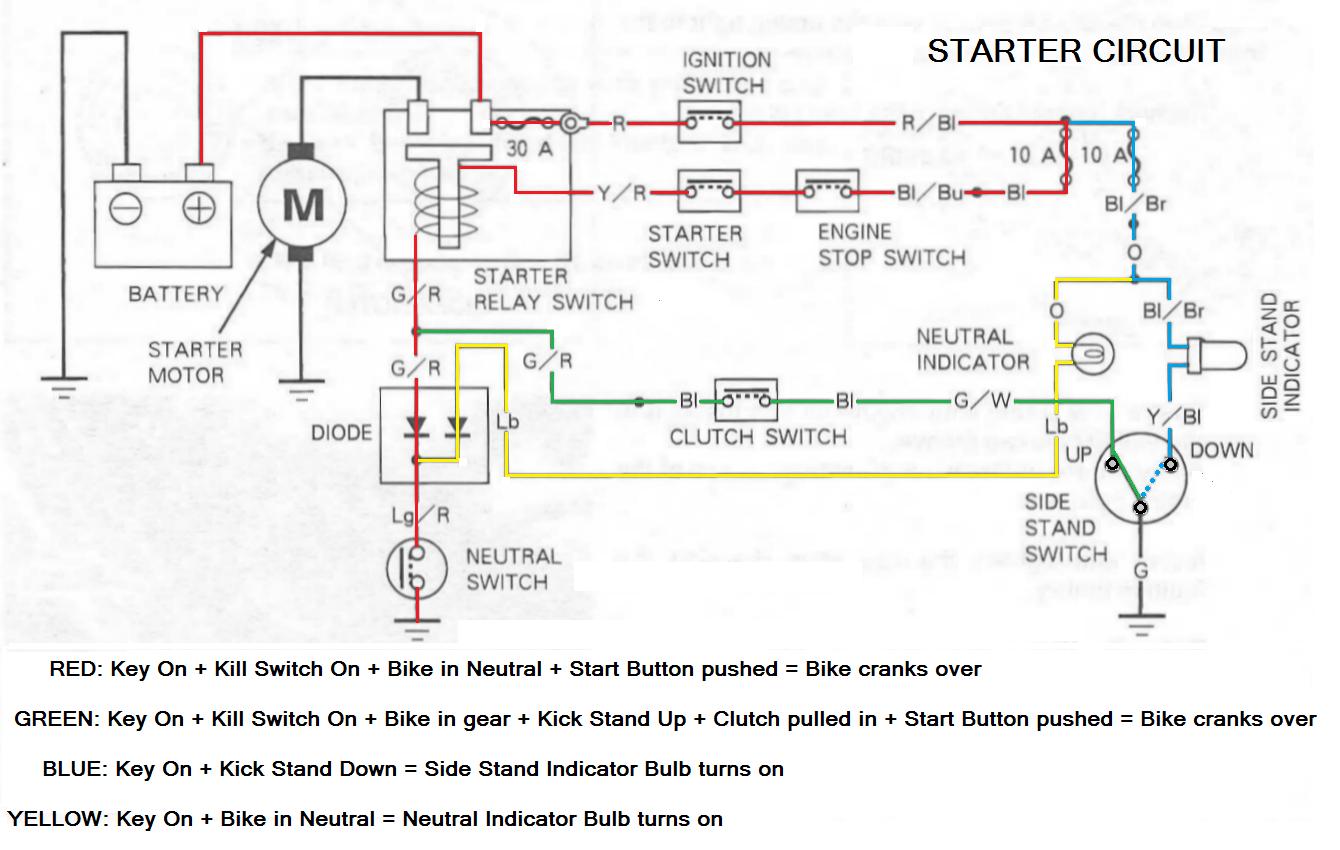 honda shadow signal light switch wiring starter circuit explained honda shadow forums  starter circuit explained honda